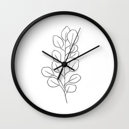 Eucalyptus Leaves | Line Drawing | Abstract | Tropical Leaf Wall Clock
