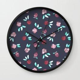 Clover Flowers Pattern on Grey Wall Clock