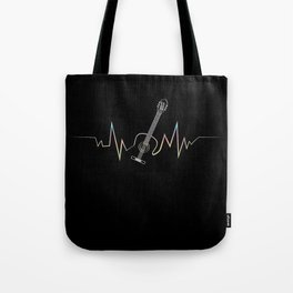 Acoustic Guitar Heartbeat design Cool Gift for Guitarists Tote Bag