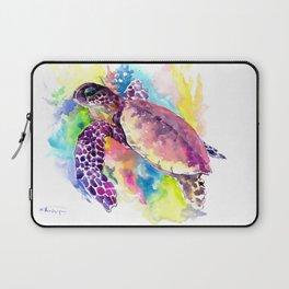 Sea Turtle in Coral Reef, tropical colors sea world purple yellow blue turtle art, turtle illustrati Laptop Sleeve