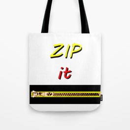 Zip it Black Yellow Red jGibney The MUSEUM Gifts Tote Bag
