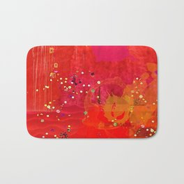 Red Abstract Art Collage Bath Mat