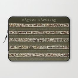 Bayeux Tapestry on Army Green - Full scenes & description Laptop Sleeve