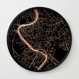 Black and gold Rome map Wall Clock