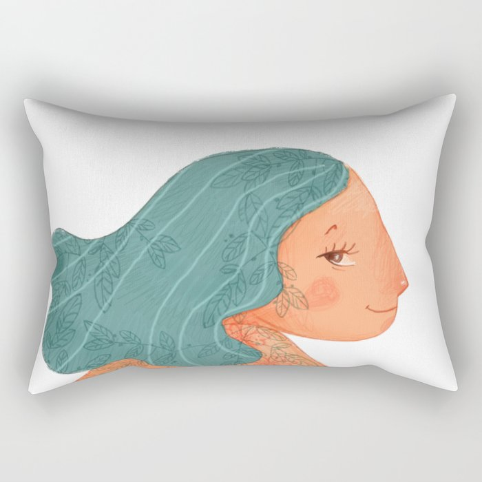 Tattooed girl with turquoise hair Rectangular Pillow