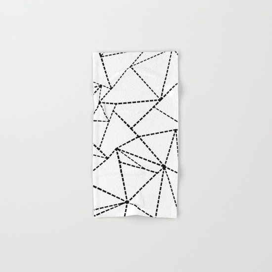 Abstract Dotted Lines Black and White Hand & Bath Towel
