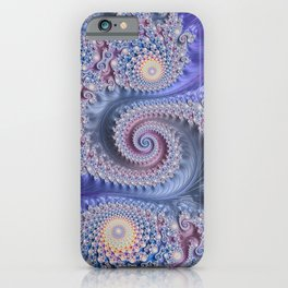 Feathery Flow Lilac - Fractal Art  iPhone Case