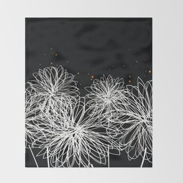 Black Doodle Floral by Friztin Throw Blanket