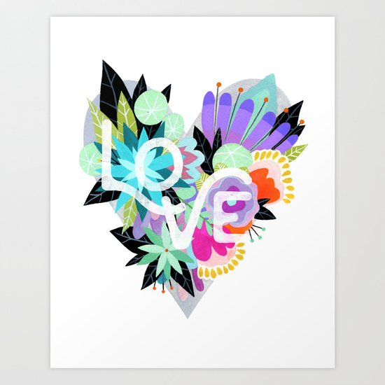 Love Blooms - Rainbow Art Print