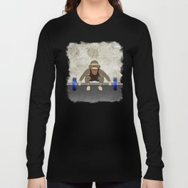 Sock Monkey Bodybuilder Long Sleeve T-shirt