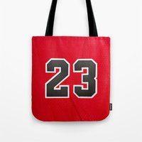 chicago bulls Tote Bags featuring Michael 23 Jordan Chicago Bulls by Rorzzer
