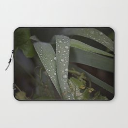After the Rain, Rain drops on Iris Leaves Laptop Sleeve
