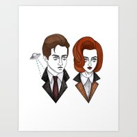 mulder Art Prints featuring mulder and scully by Bunny Miele