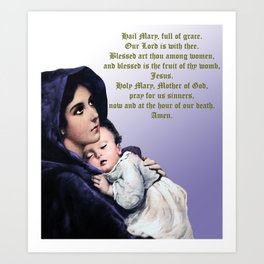 Prayer to Virgin Mary Art Print