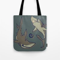 sharks Tote Bags featuring Sharks by Anya McNaughton