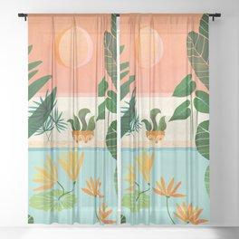 Shangri La Sunset / Exotic Landscape Illustration Sheer Curtain