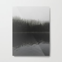 Verticle Frosted Trees Lake Metal Print