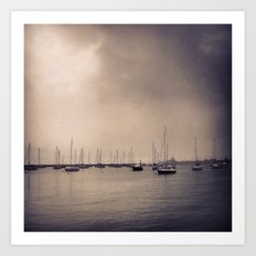 Foggy Harbor - Chicago Art Print