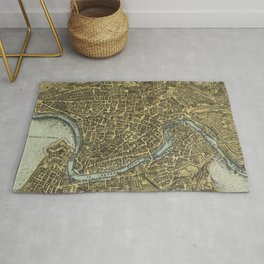 Vintage Map of Rome Italy (1716) Rug