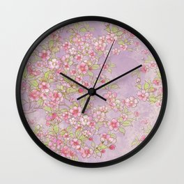 Cherry Blossoms:  Delicate Watercolor Branches, pink on soft lavender Wall Clock