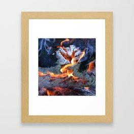 black white and flame Framed Art Print