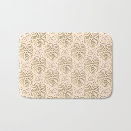 Gold Monstera on Cream Bath Mat