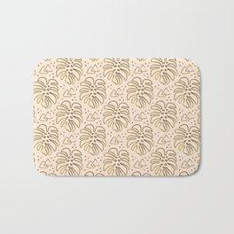 Gold Monstera on Cream Bath Mat