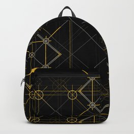 Mustard yellow distressed mandala circle with alchemy symbols Backpack