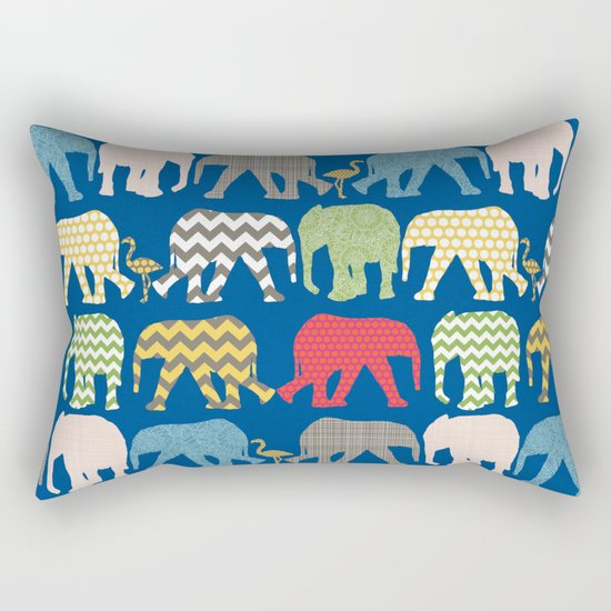 baby elephants and flamingos lapis Rectangular Pillow