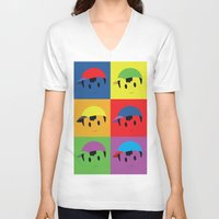 popart V-neck T-shirts featuring Ness Popart Shirt by Brandon Molica