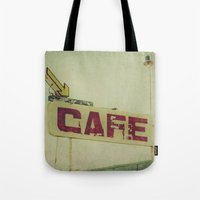 cafe Tote Bags featuring Cafe by Honey Malek