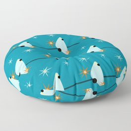 Atomic Birds On A Wire Floor Pillow