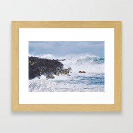 Crashing Waves on Lava Rock Cliffs Framed Art Print