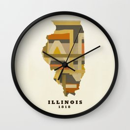 illinois state map modern Wall Clock