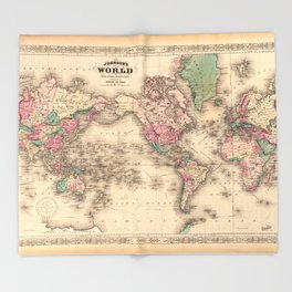 1861 World Map - Johnson's World on Mercators Projection Throw Blanket