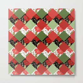 Patchwork, Christmas Metal Print