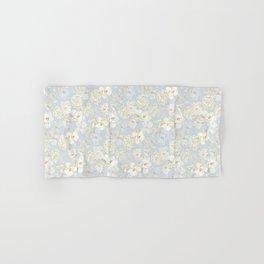 White Floral on Pale Blue Hand & Bath Towel