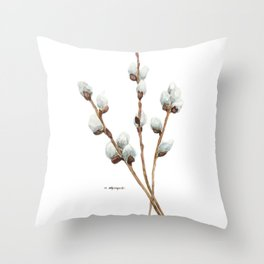 Catkins Watercolor Painti Throw Pillow
