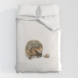 """""""Close Encounter"""" painting of a Hedgehog and Snail by Teresa Thompson Duvet Cover"""