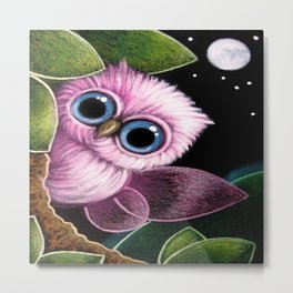 TINY PINK FAIRY OWL - YOU CAN'T SEE ME Metal Print