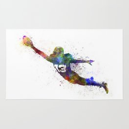 american football player scoring touchdown Rug