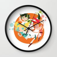 powerpuff girls Wall Clocks featuring Powerpuff Loop by DeAnna Marie Johnson