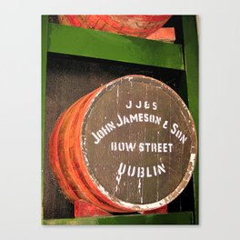 Jameson whiskey - Jameson Irish whiskey wooden barrel face photography Canvas Print