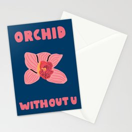 Orchid Without You Floral Print Stationery Cards