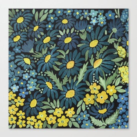 Watercolor . Blue daisies . Canvas Print