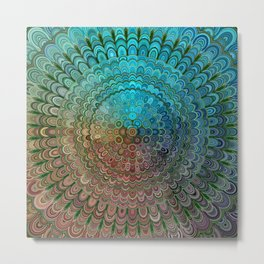 Cold Metal Flower Mandala Metal Print