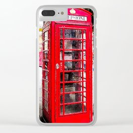 London England - Red Telephone Booth - Telephone Box Clear iPhone Case