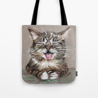lil bub Tote Bags featuring Cat *Lil Bub*  by Pendientera