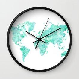 Teal aquamarine watercolor world map Wall Clock