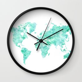 Teal aquamarine watercolor world map Wall Clock